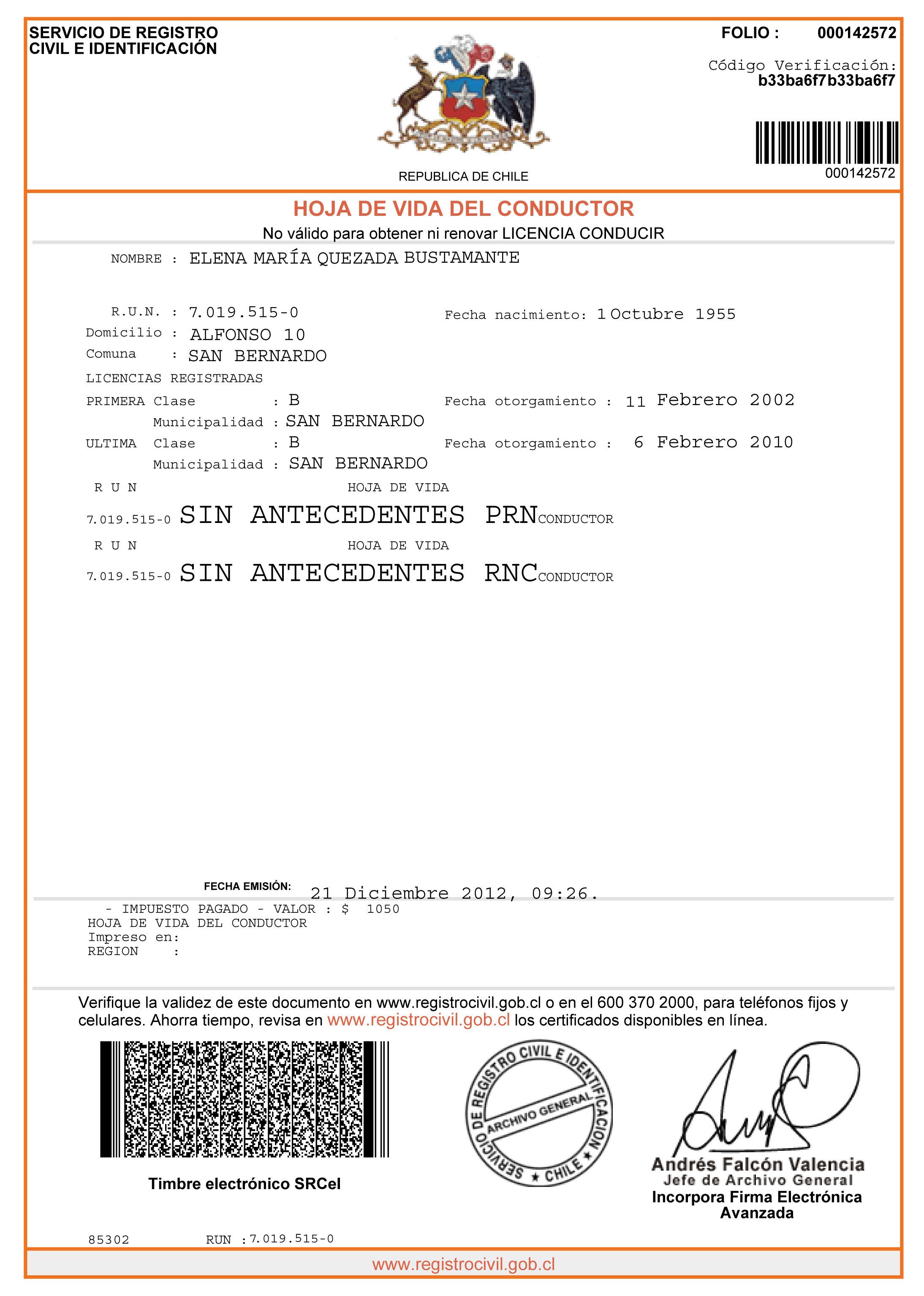 Registro Civil anuncia Hoja de Vida del Conductor on line | El ...
